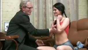 Horny older teacher copulates nasty chick senseless