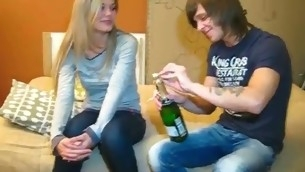 Dude drinks Asti spumante with cutie wishing to tempt her to have A- sex with him