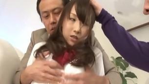 tenåring trekant brunette handjob asiatisk fitte slikking uniform japansk