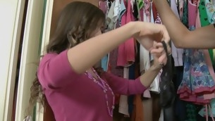 Teen in a closet in her clothes has a suppliant fuck her hard