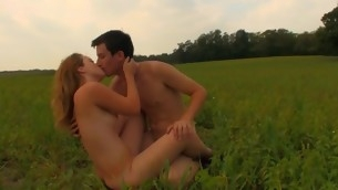Check out the incredible mating with a golden-haired on a spacious field
