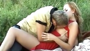Gracious chap starts undressing and caressing leggy younger blond pulchritude alfresco