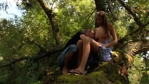 Tall and lanky legal age teenager is being fucked senseless outdoors