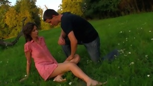 Horny legal period teenager chick copulates essentially a fallen treen outdoors with partner