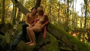 Oversexed and skinny old bag gets nailed by her stud next to the tree